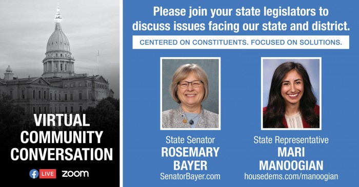 Virtual Community Conversation with Senator Bayer and Representatibe Mari Manoogian